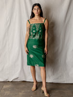 Vintage Silk Dress in Emerald and Silver