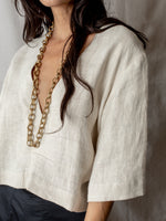 Annam Hemp Deep V-Neck Top in Natural