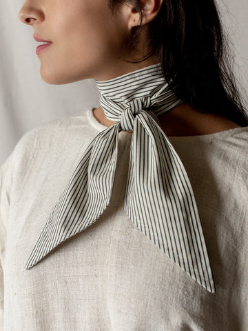 Cotton Scarf by The Arc- Cream and Blue Stripe