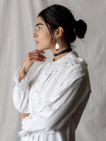 Antique Embroidered Blouse with Jester Trim
