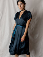 Annam Satin Wrap Dress in Indigo