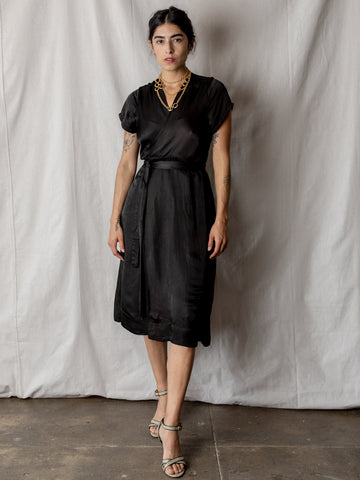 Annam Satin Wrap Dress in Black