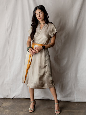 Annam Satin Wrap Dress in Cream