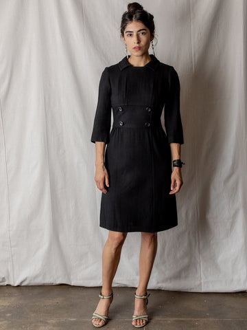Vintage Dress in Black Wool