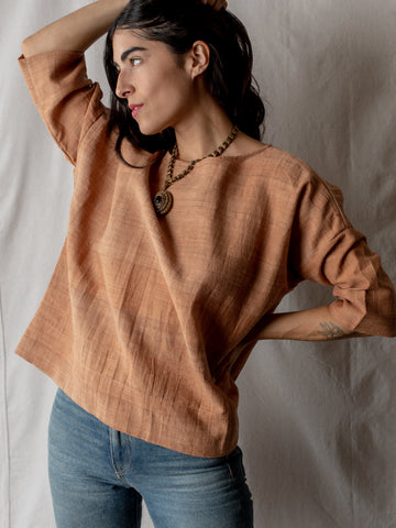 Annam Raw Silk Round Neck Top