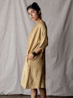 Annam Raw Silk Round Neck Dress in Mustard