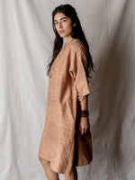 Annam Raw Silk Round Neck Dress in Rose