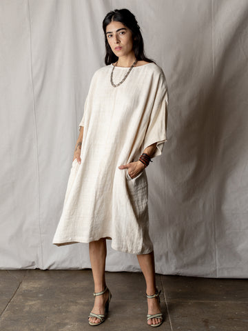 Annam Raw Silk Round Neck Dress in Ivory