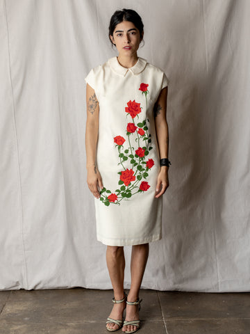 Vintage Dress in Ivory with Roses