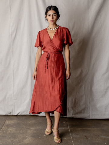 Annam Silk Wrap Dress in Brick