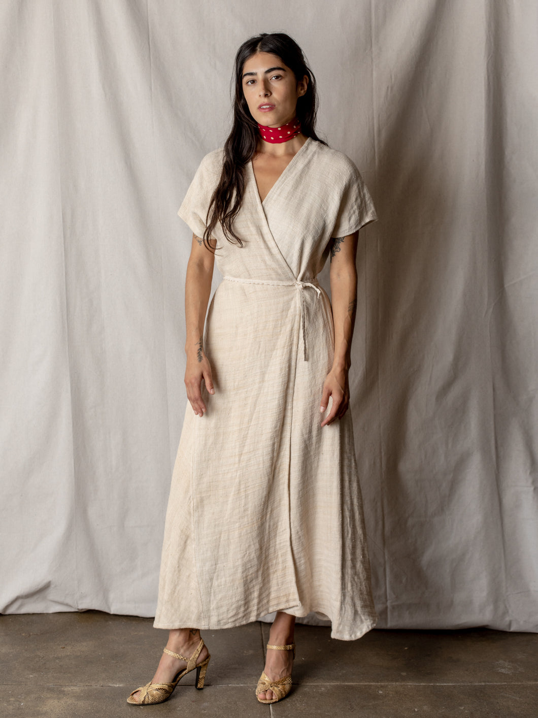 Annam Hemp Wrap Dress in Natural