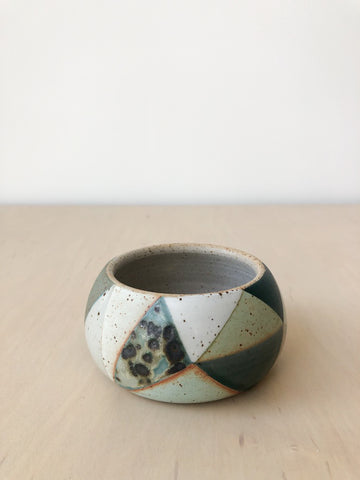 Green Triangle Ceramic Vessel