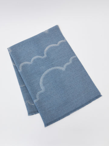ama London Cloudline Fringed Merino Wool Baby Blanket in Cloud Blue