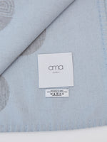 ama London Alpha Hand Finished Fringed Merino Wool Blanket in Cloud Blue