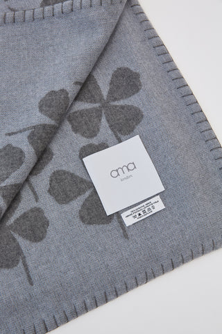ama Hand Finished Clover Print Merino Wool Baby Blanket in Cloud