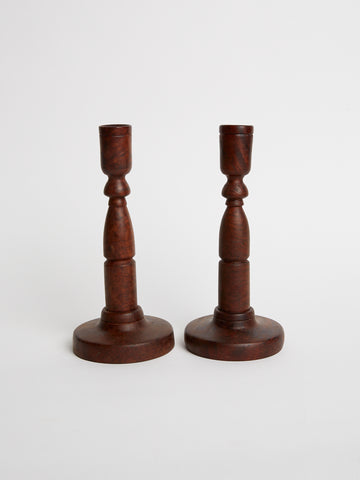 Pair of Vintage Burled Walnut Candlestick Holders