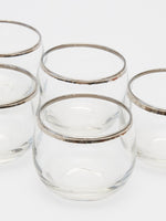 Vintage Glasses Set with Silver Rim
