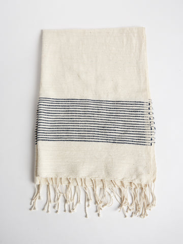 Hand Towel in Natural and Navy