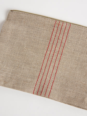 Linen Pouch in Natural and Red