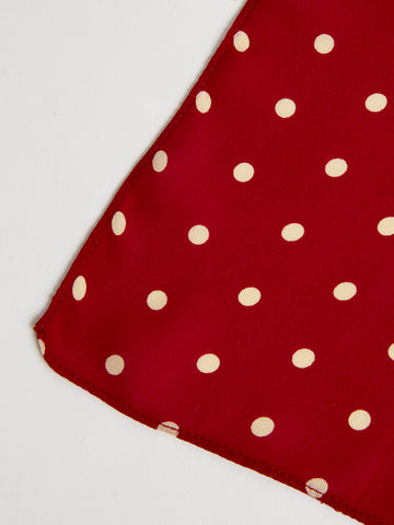 The Arc Petite Scarf in Red and White Microdot
