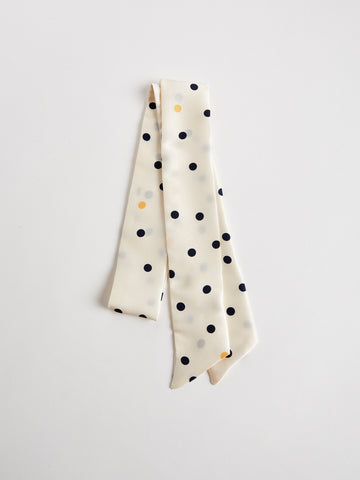 Silk Scarf by The Arc - Ivory, Yellow and Blue Polka Dot