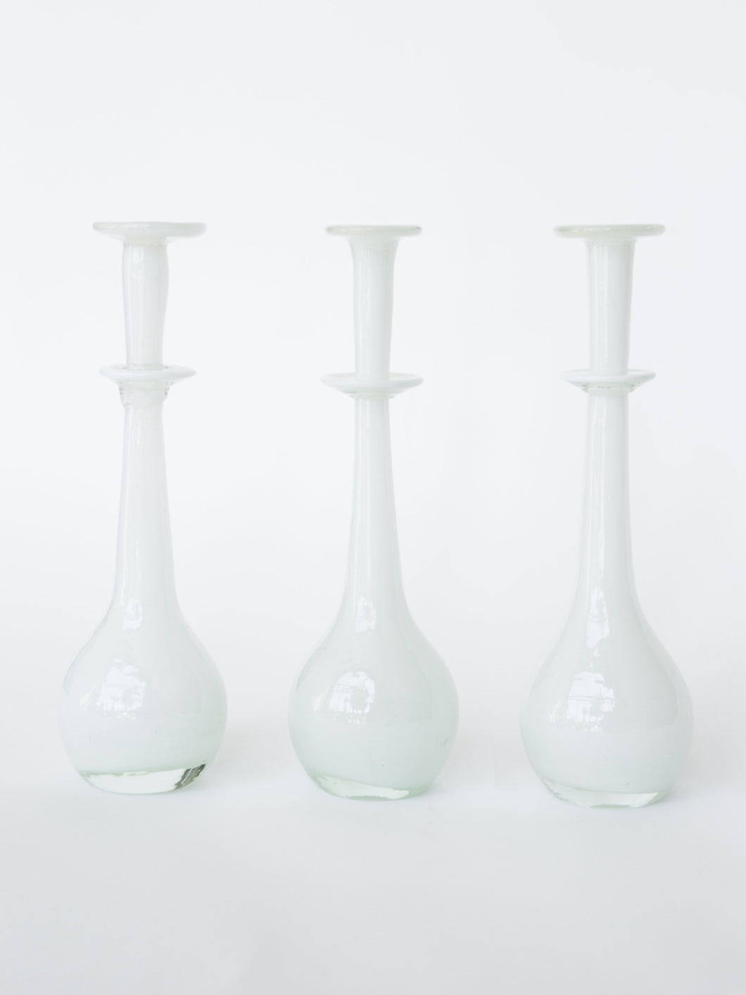 White Hand-Blown Glass Vase