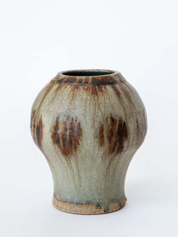 Beige Brown Earthen Wear Psykter Shaped Vase