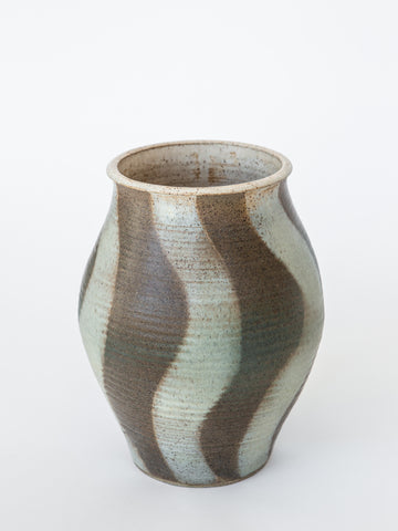 Swirl Green and Beige Ceramic Vase