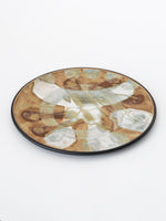 Ceramic Studio Piece Plate in Tan and Grey Blue