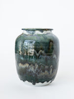 Blue Green Ceramic Urn Vase