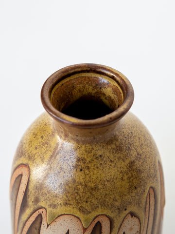 Ceramic Studio Piece Vase in Tan and Brown Swish