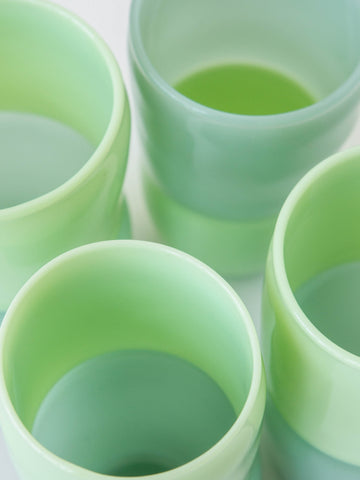 Handblown Drinking Glasses in Green Glass