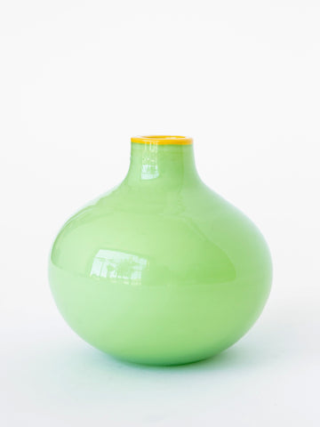 Green Glass Vase with Yellow Trim