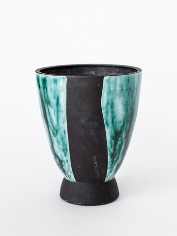 Italian Mid-Century Turquoise and Brown Vase