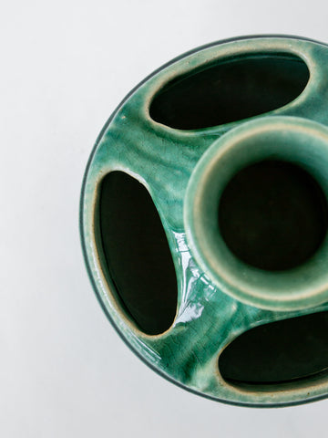 Ceramic Emerald Vase with Cutouts