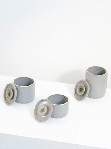 Grey Ceramic Jar Set with Lids