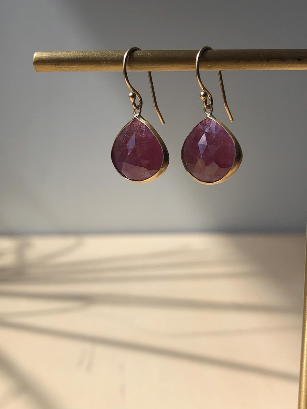 Ruby Earrings with 14K Gold