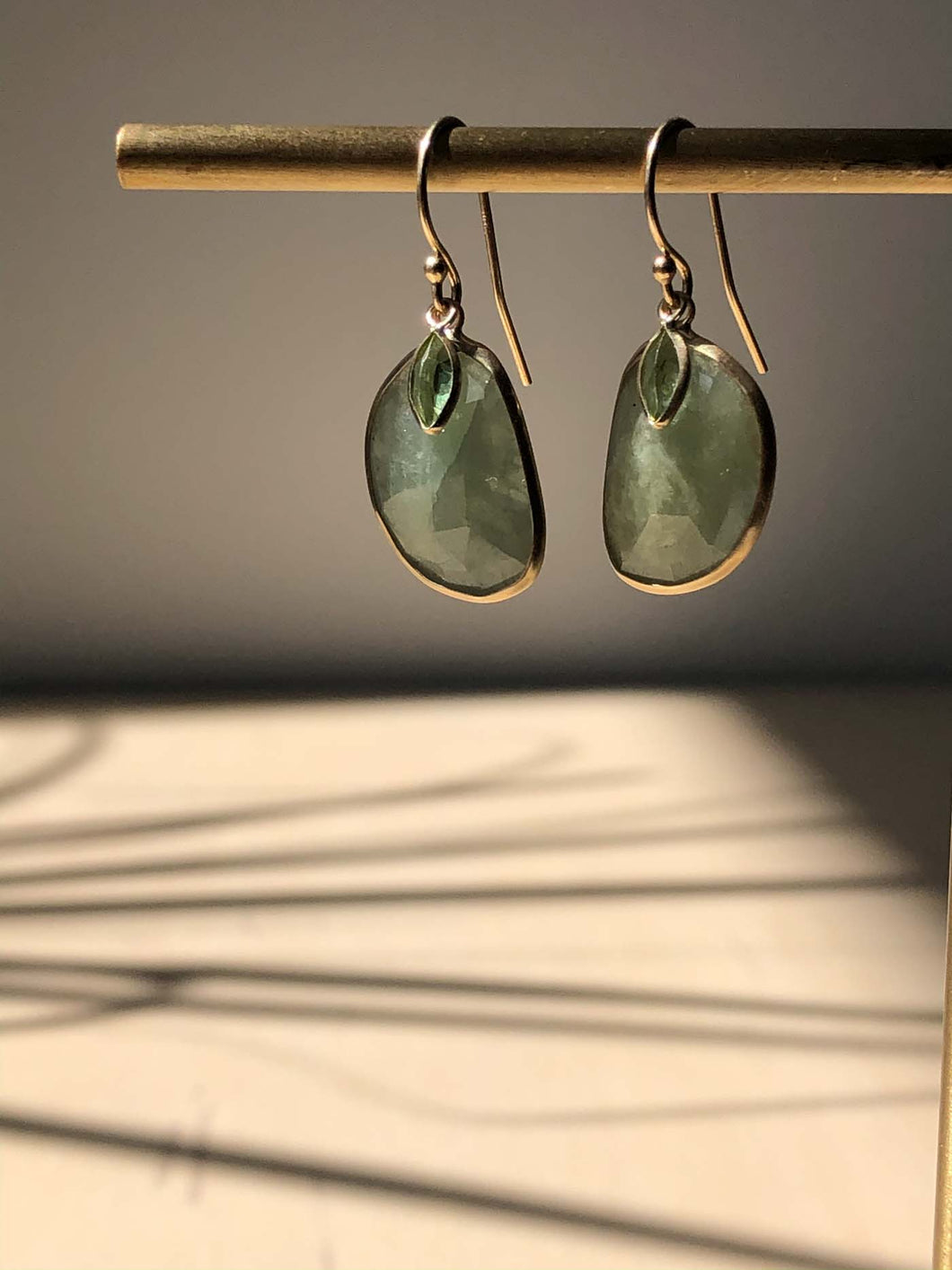 Sage Sapphire and Peridot Earrings with 14K