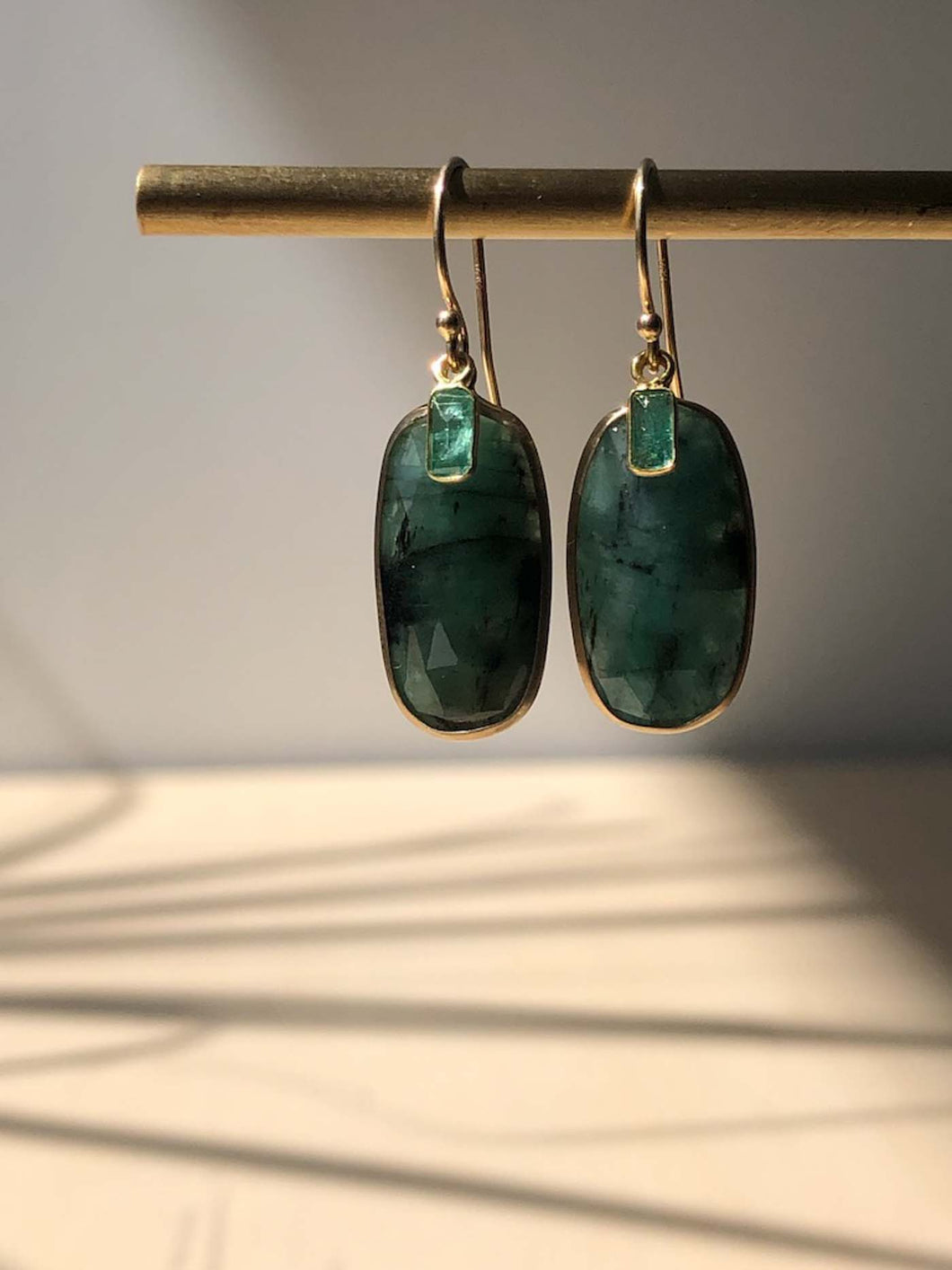 Double Emerald Earrings with 14K Bezel