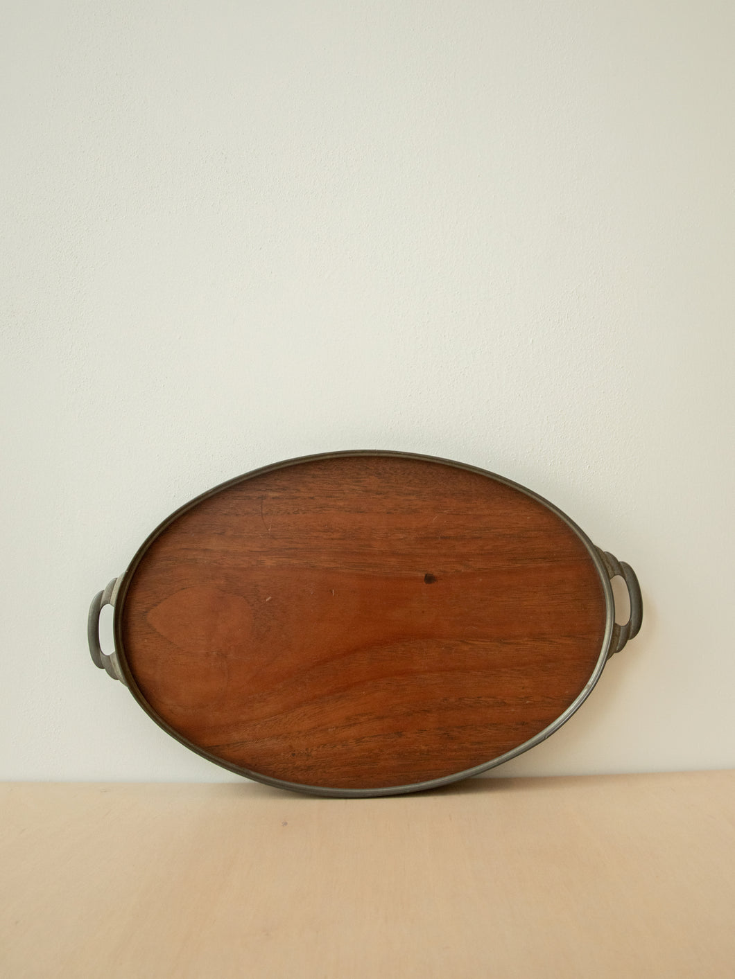 Vintage Pewter and Walnut Mid Century Tray