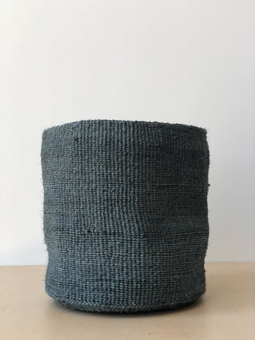 Large Sisal Cylindrical Basket in Blue Grey