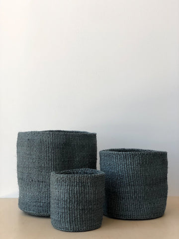 Small Sisal Cylindrical Basket in Blue Grey