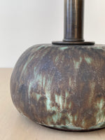 Small Round Lamp in Lunar Glaze, Taupe Shade