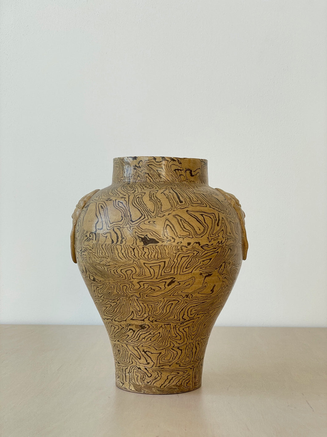 Handmade Chinese Cognac and Brown Vase
