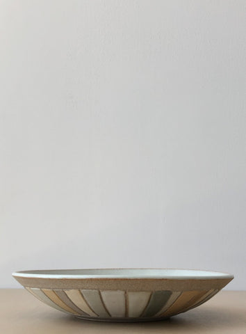 Serving Bowl in Muted Pastel Stripe