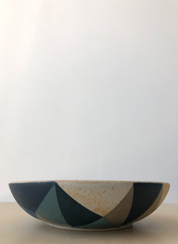"12"" Triangle Bowl in Soft Grey and Blue"
