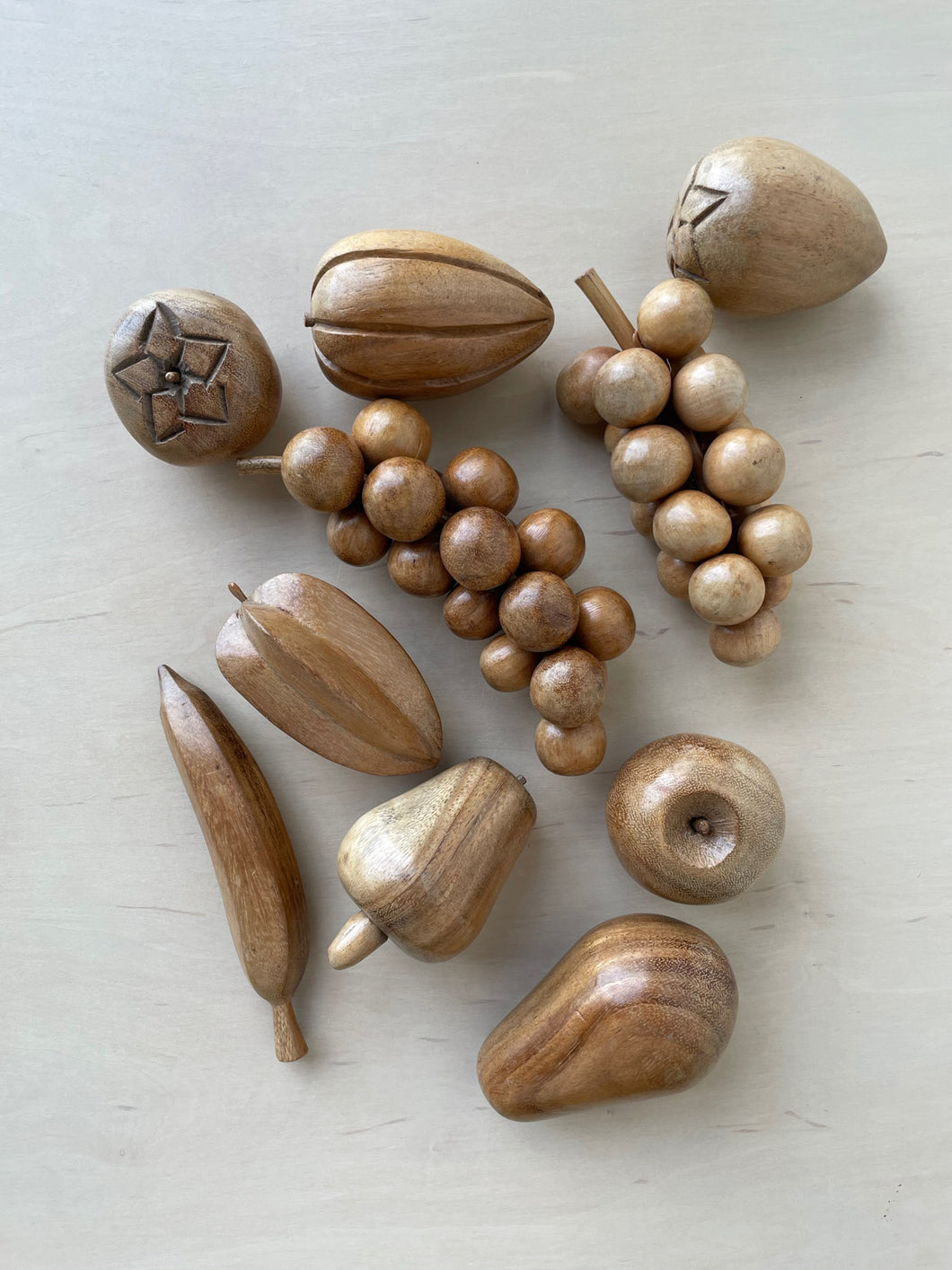Vintage South American Wooden Fruit Set