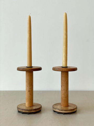 Pair of Vintage Bobbin Candlestick Holders