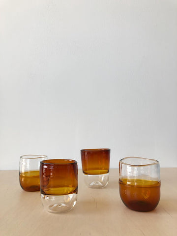 Handblown Glasses in Amber and Clear