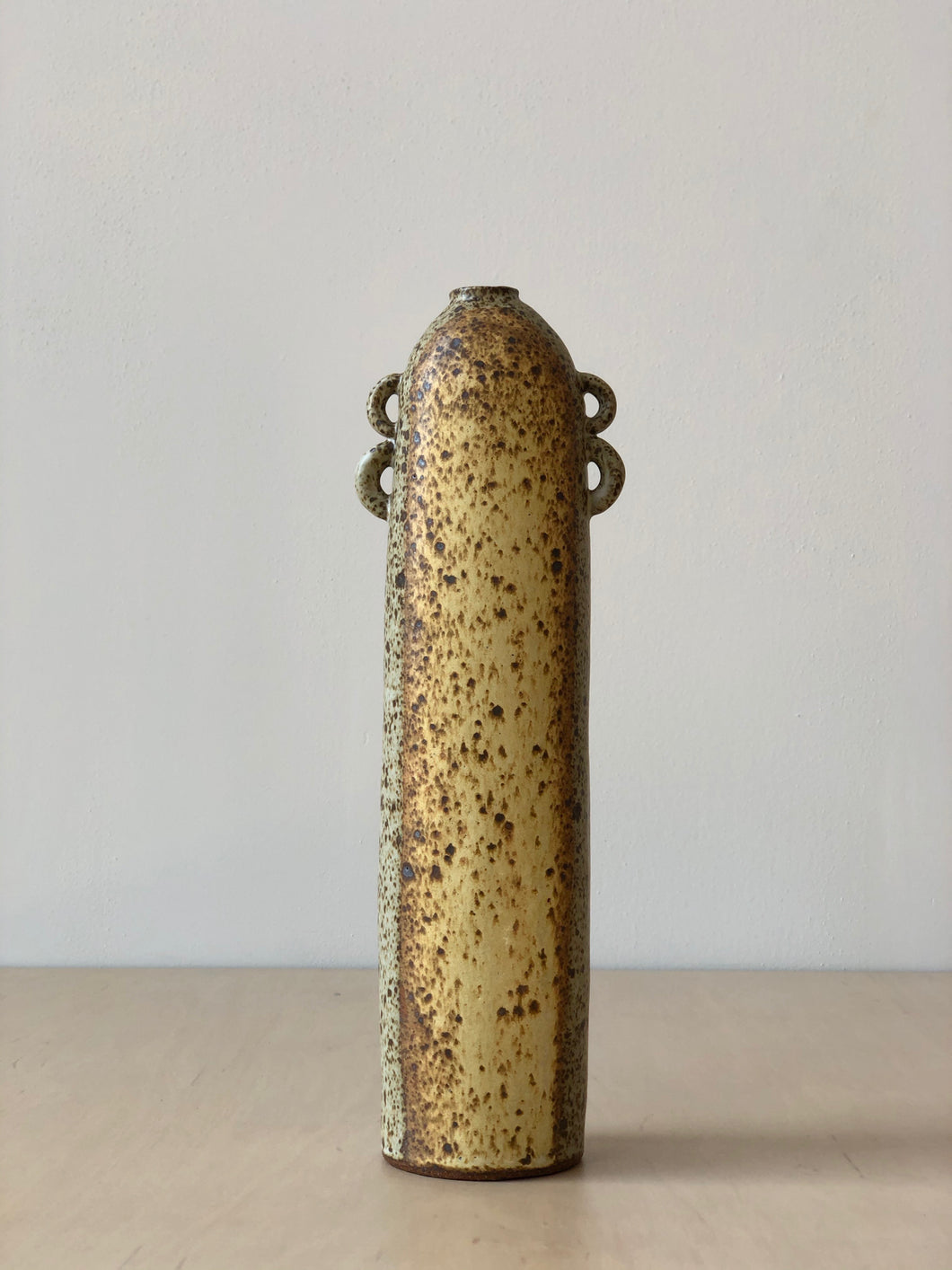 Neutral Speckled Vase with Loop Handles
